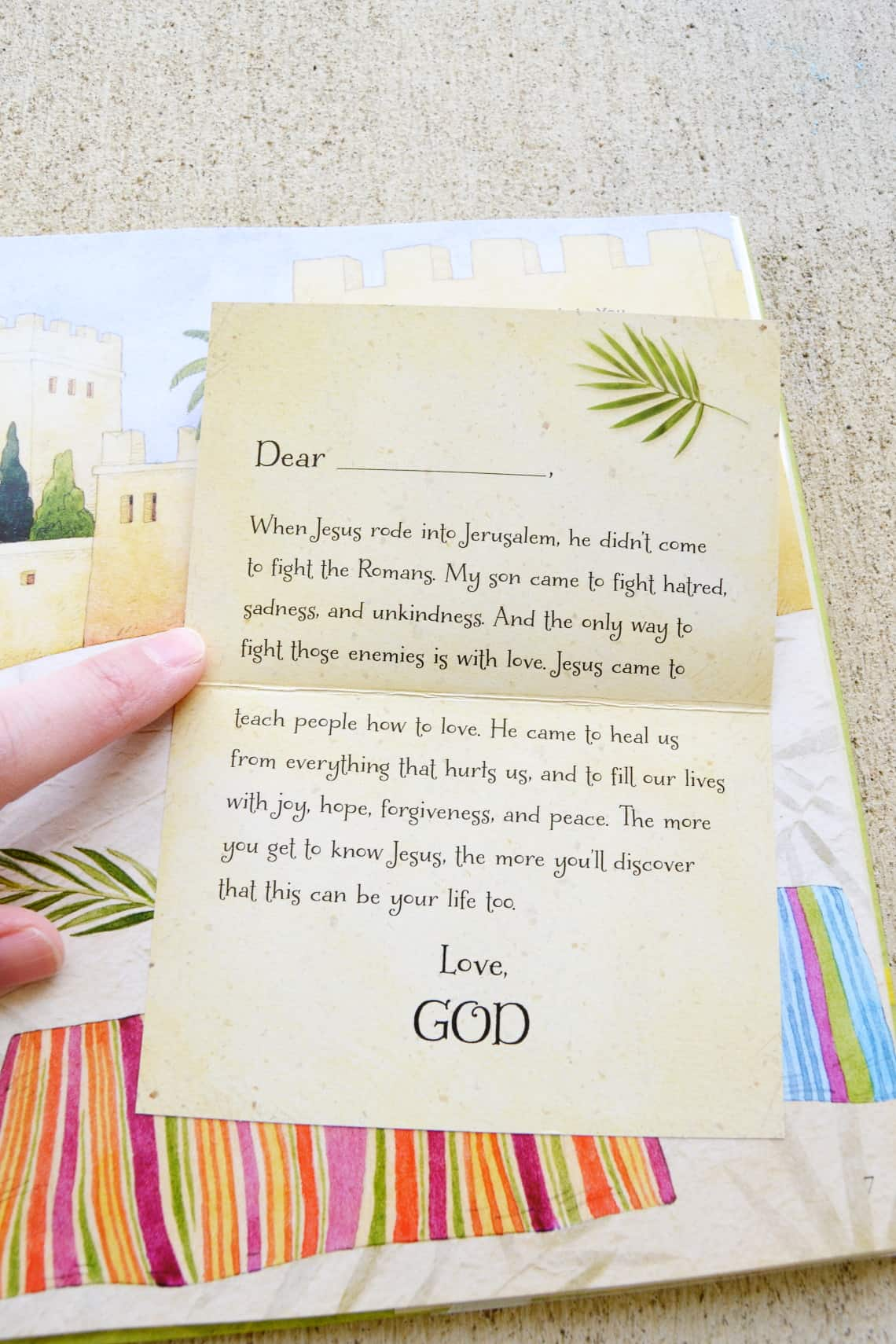 The flaps lifted up to show the love letters from God