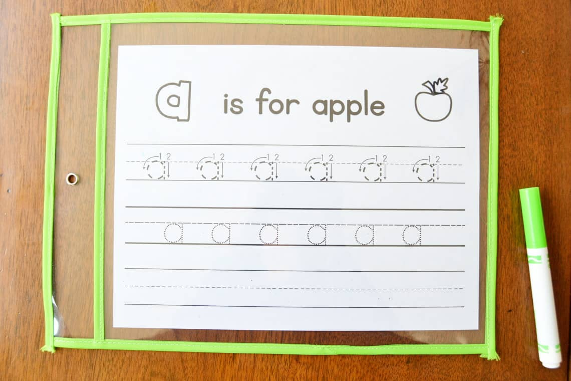 the letter a tracing worksheet inside a dry erase pouch