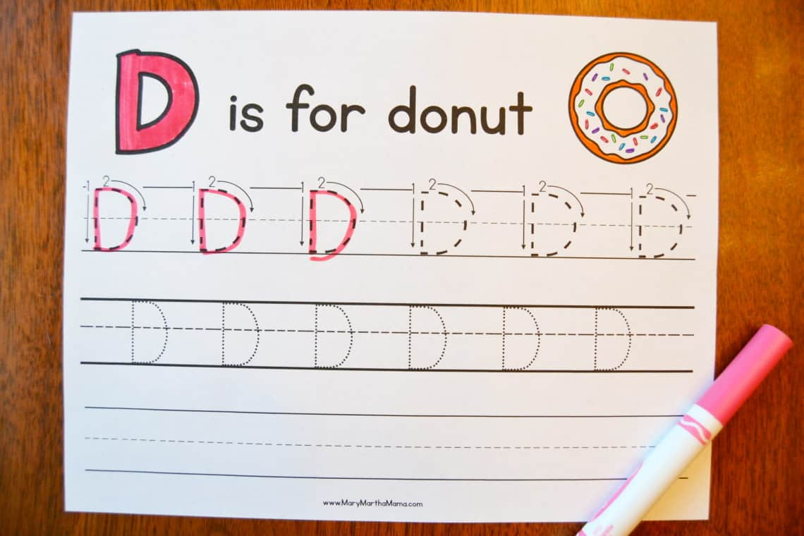 Letter D Tracing Worksheets: Uppercase D