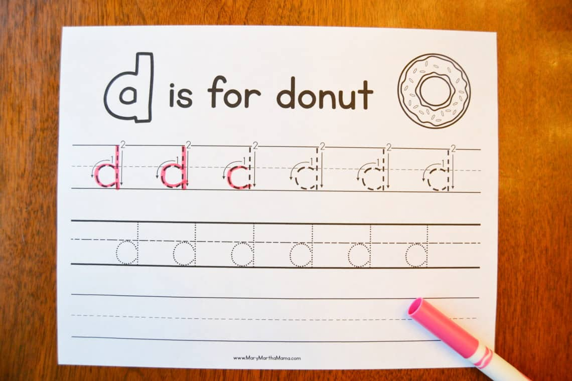 Letter D Tracing Worksheets: Lowercase d