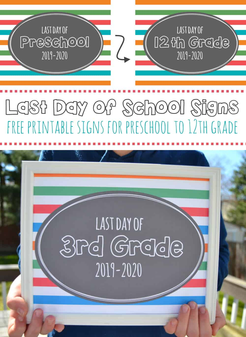 Grab these free printable Last Day of School 2020 signs and snap photos of your kids to see how much they've grown. Features signs for preschool to 12th.