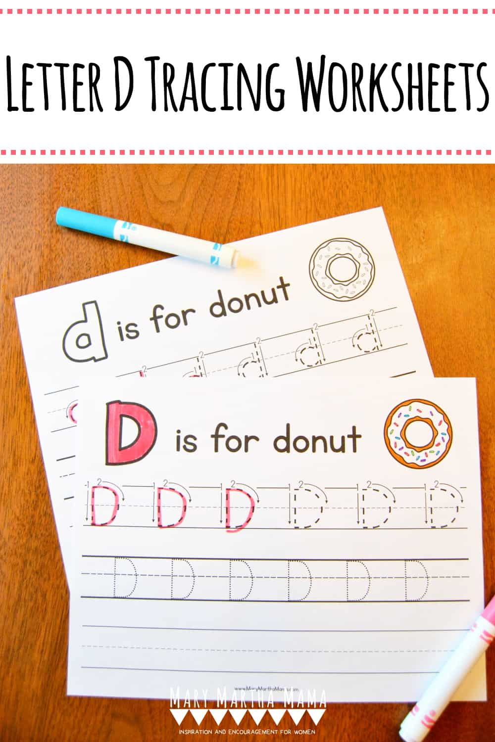 Is your child working on his or her handwriting?  Use these free printable Letter D Tracing Worksheets to help him or her practice with letter D.