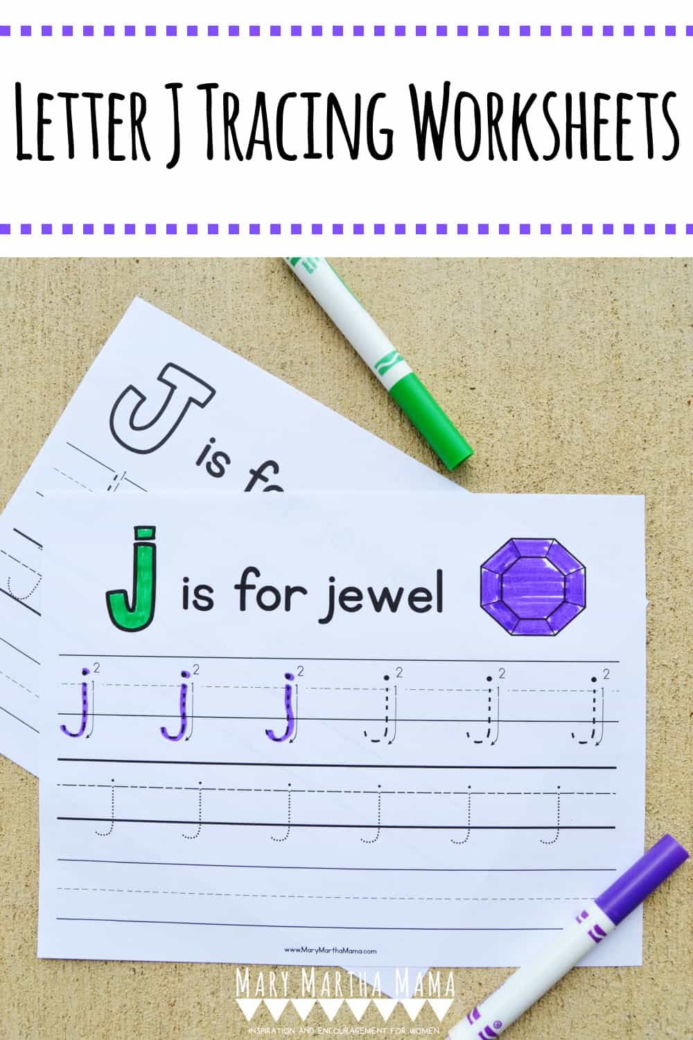 Use these free printable letter J tracing worksheets to help your kiddo learn how to form his or her letters correctly with practice tracing and writing.