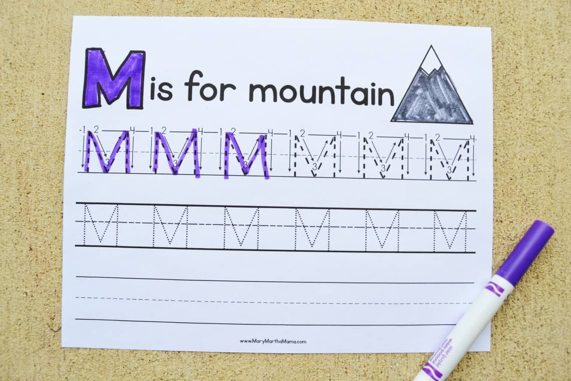 Letter M tracing worksheets: upper case