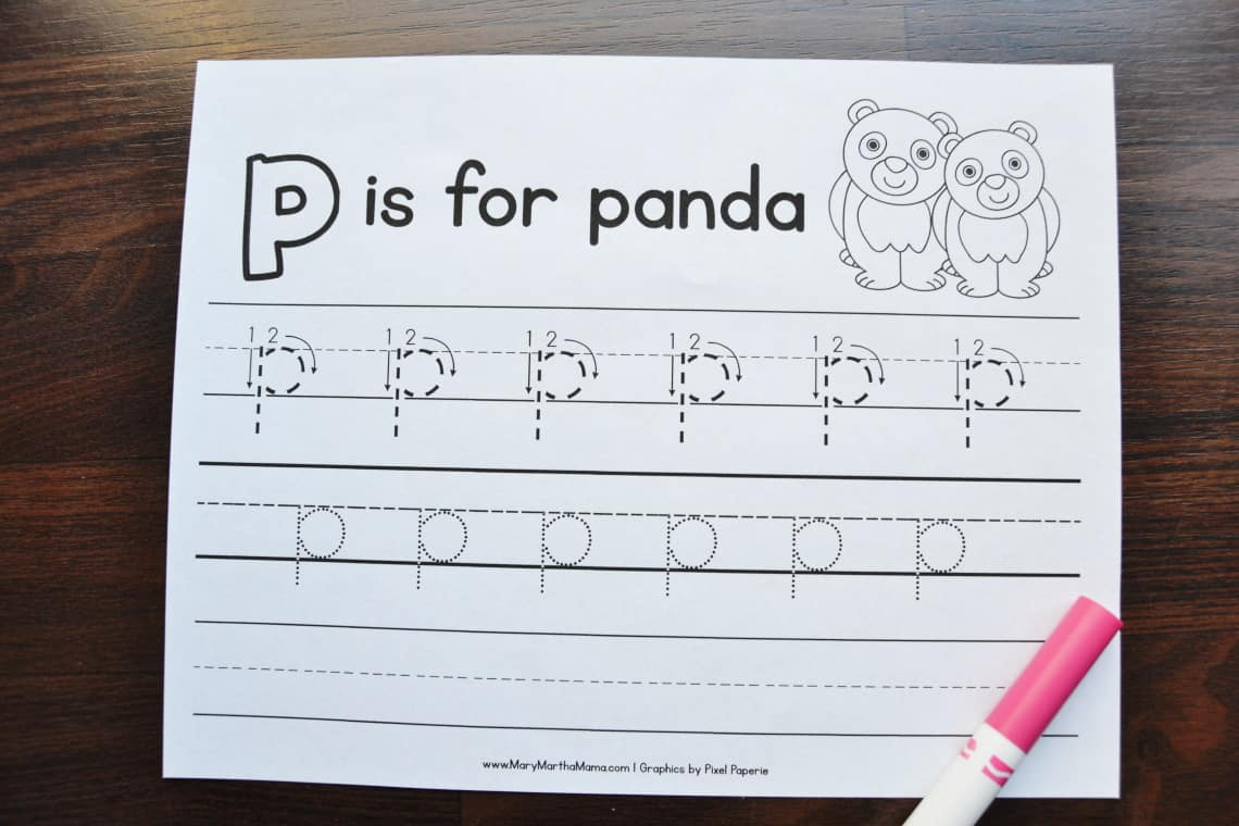 letter P tracing worksheets: lower case