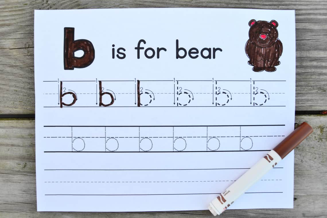 the letter b tracing worksheets for lower case b