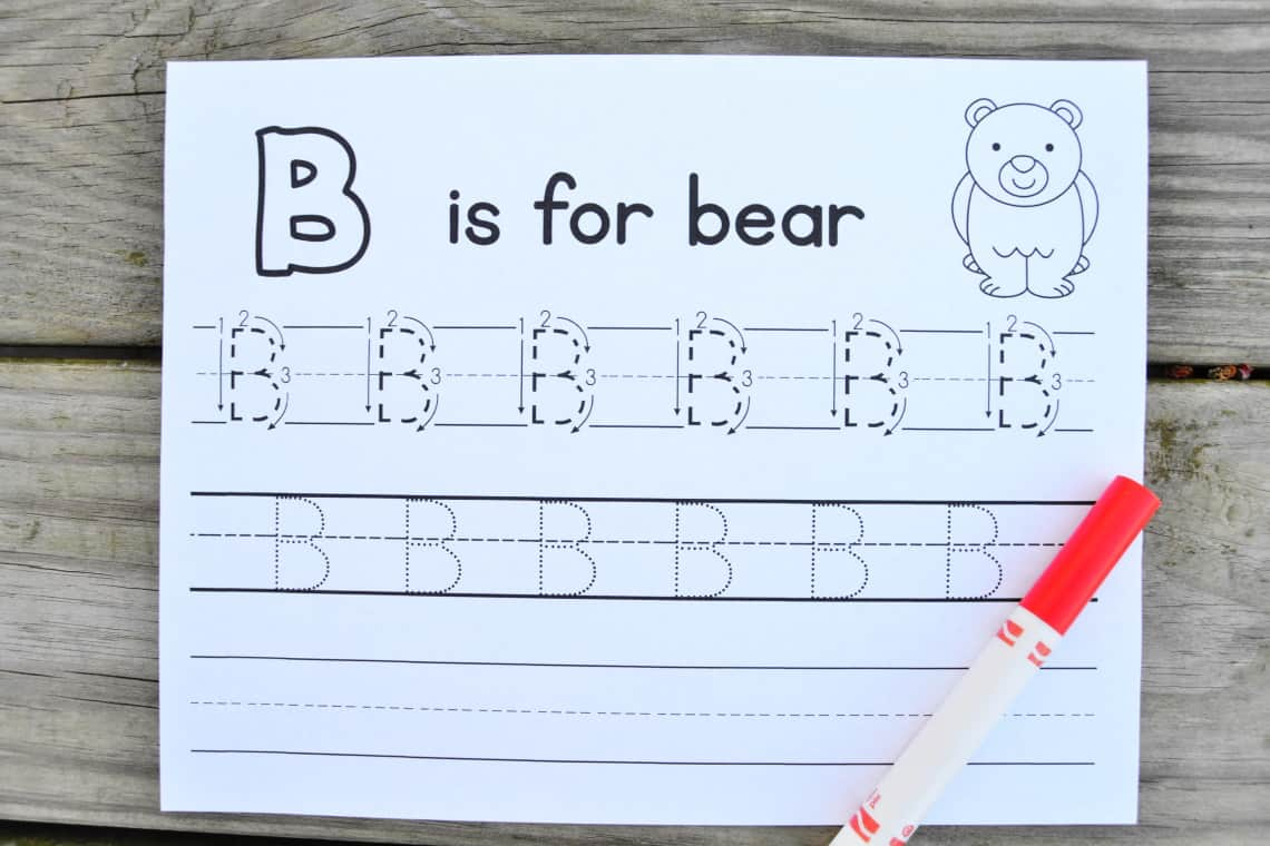 the letter b tracing worksheets for upper case b