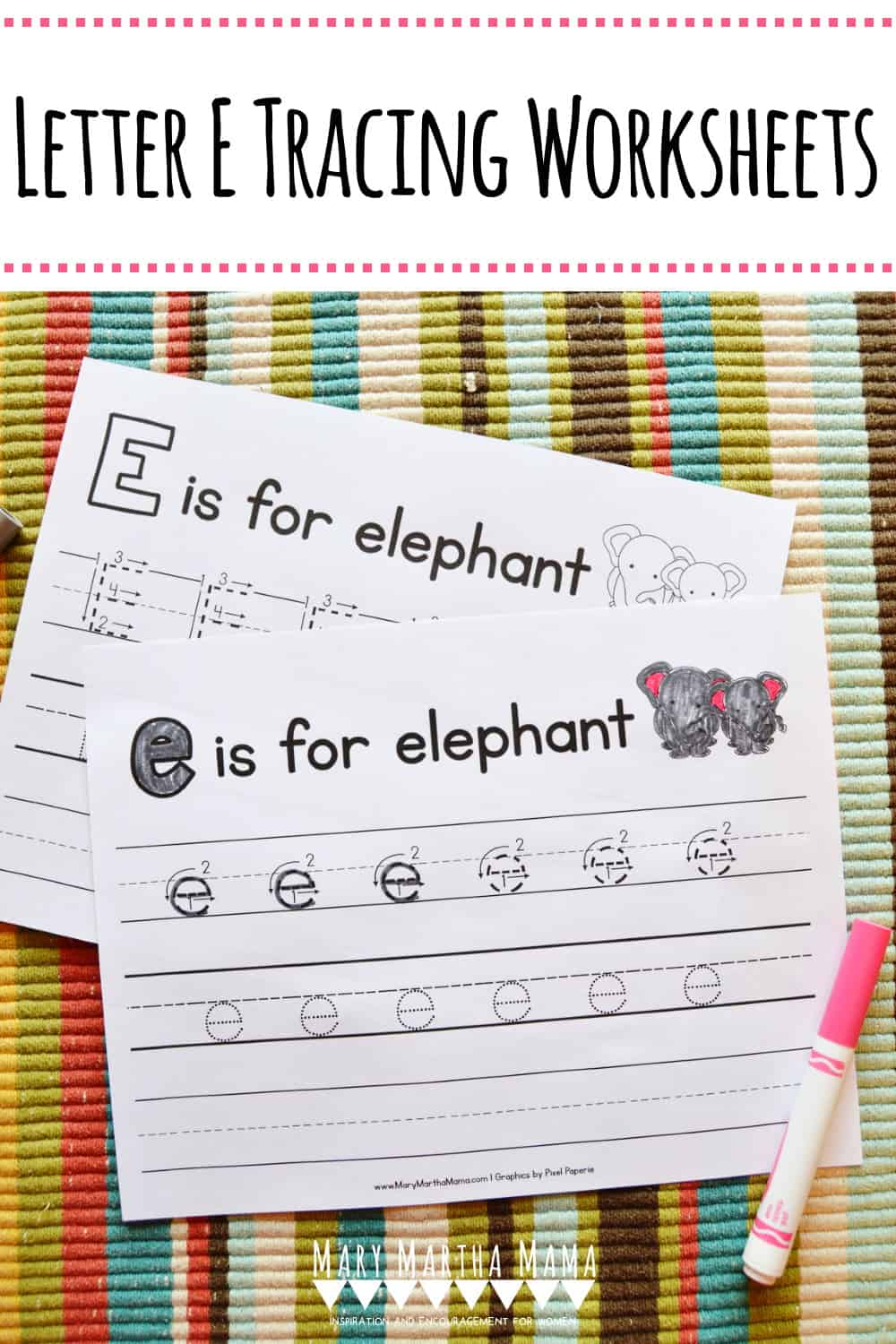 Is your child working on his or her handwriting?  You should check out these free printable Letter E Tracing Worksheets featuring upper and lower case.