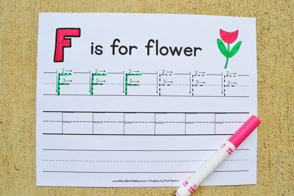 Letter F Tracing Worksheets: Uppercase