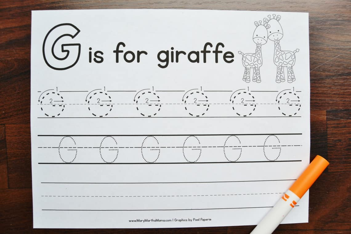 Upper Case Letter G Tracing Worksheets