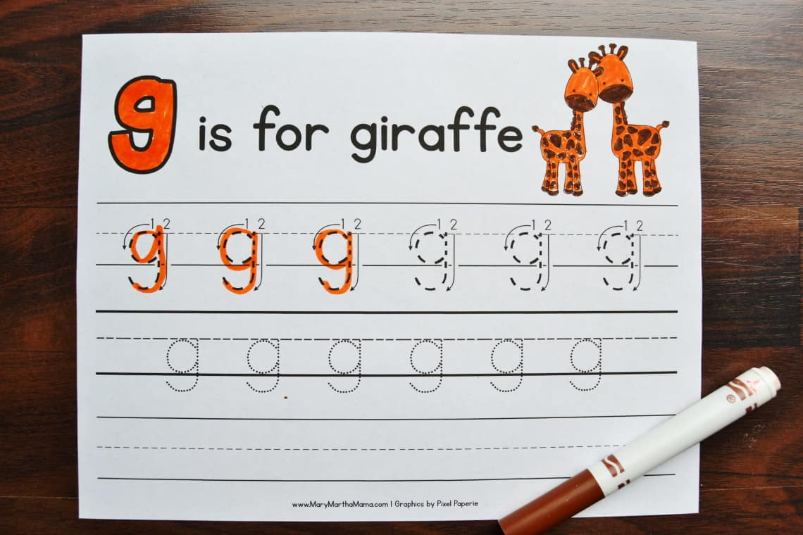 Lower Case Letter G Tracing Worksheets