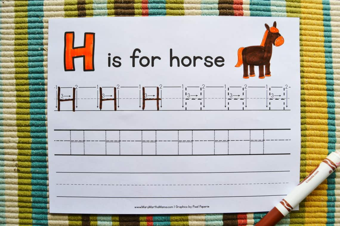 letter h tracing worksheets: capital