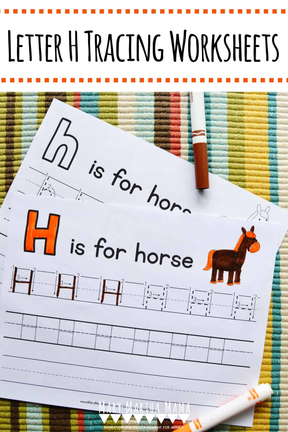 Is your child working on handwriting?  Use these free printable Letter H Tracing Worksheets to help him or her develop proper letter formation.