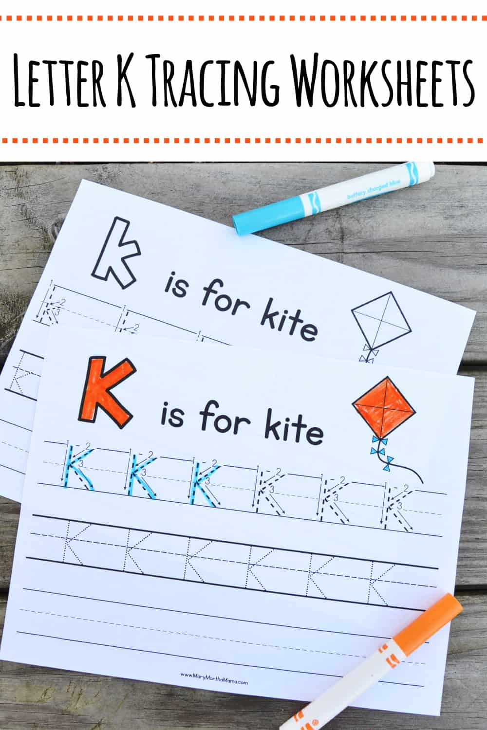 Use these free printable Letter K Tracing Worksheets to help your kiddo learn proper letter formation for letter K. Features upper and lower case K.