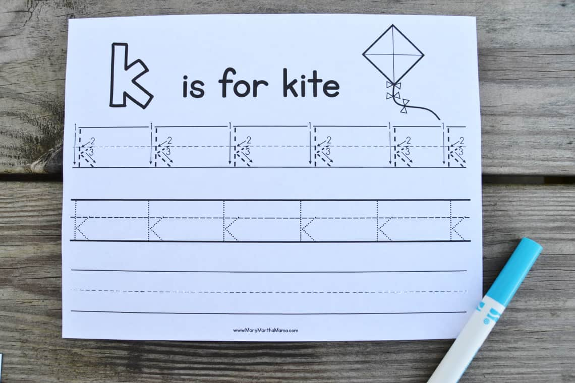 Letter K Tracing Worksheets: lower case tracing page