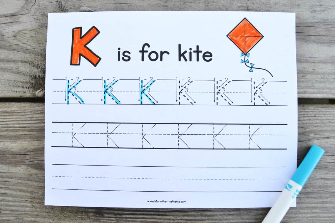 Letter K Tracing Worksheets: Uppercase
