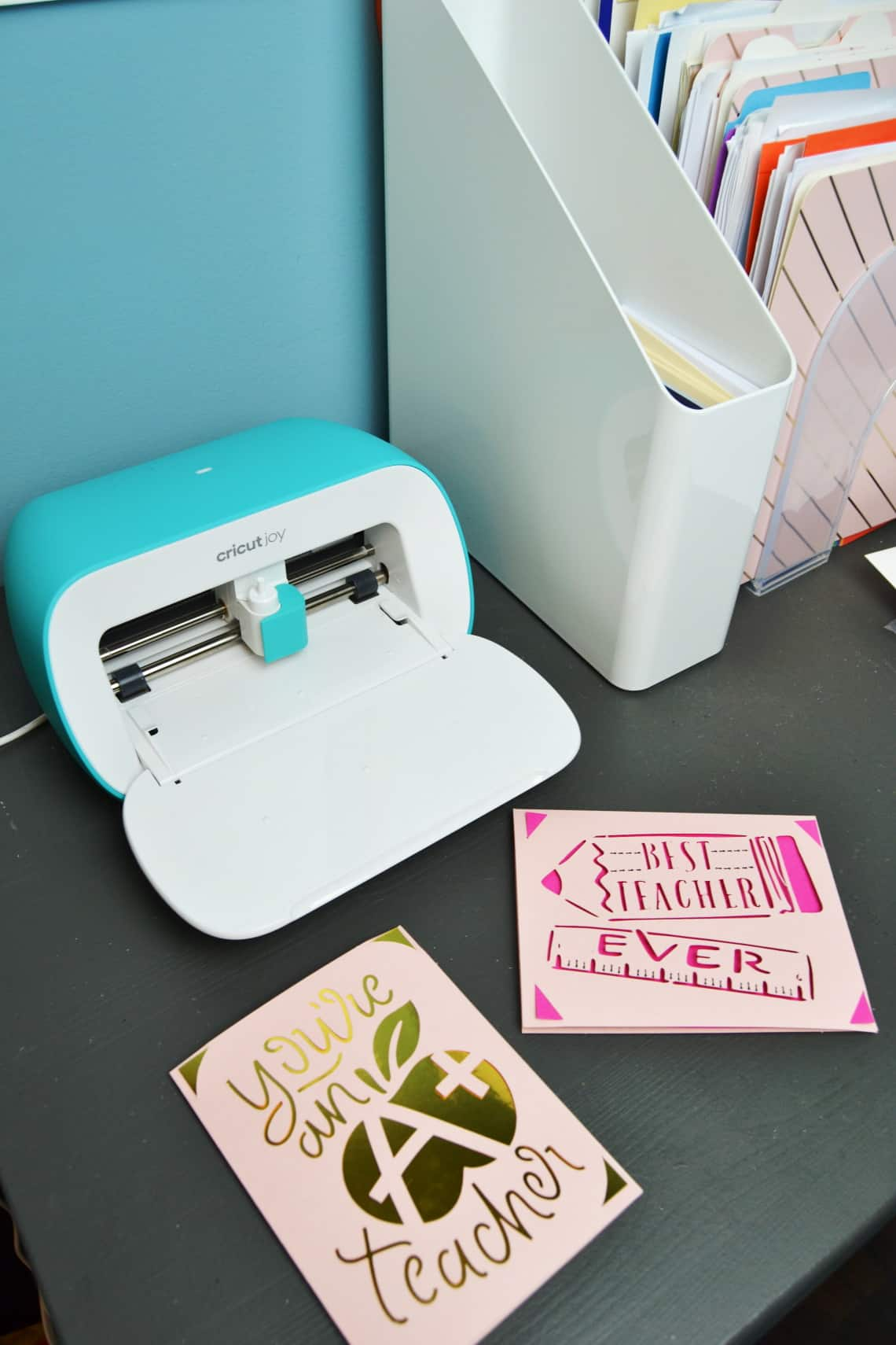 the Cricut Joy with my cards and card organization station