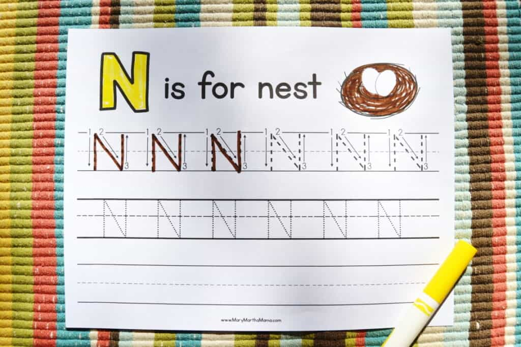 Letter N Tracing Worksheets: Upper Case