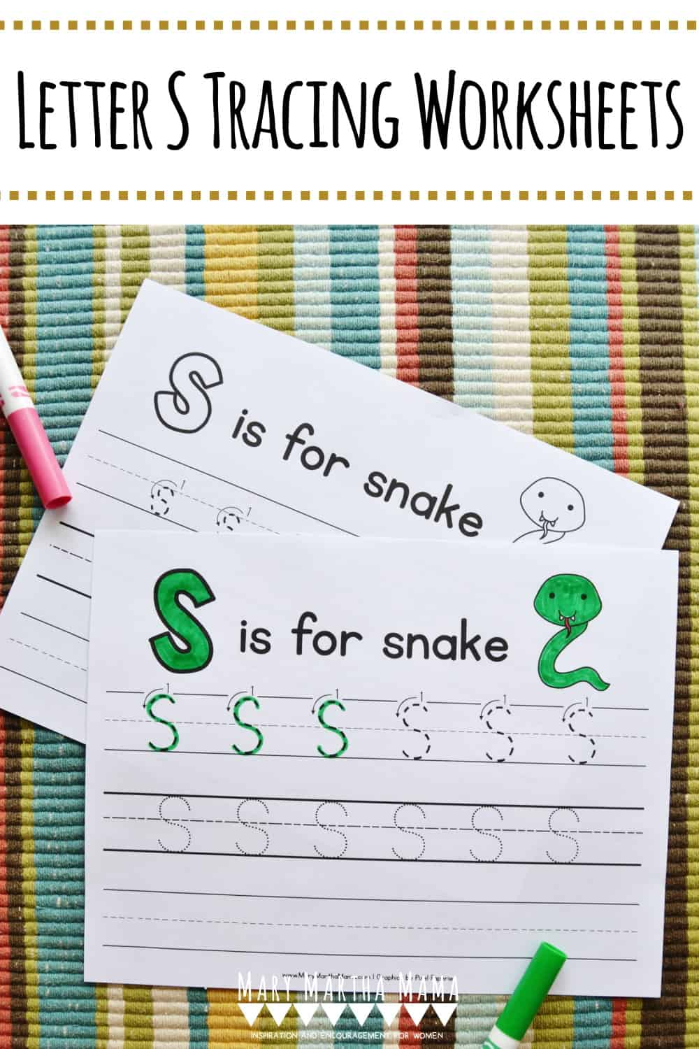 Use these free printable letter S tracing worksheets to help your kiddo learn proper letter formation for upper and lower case letter S.