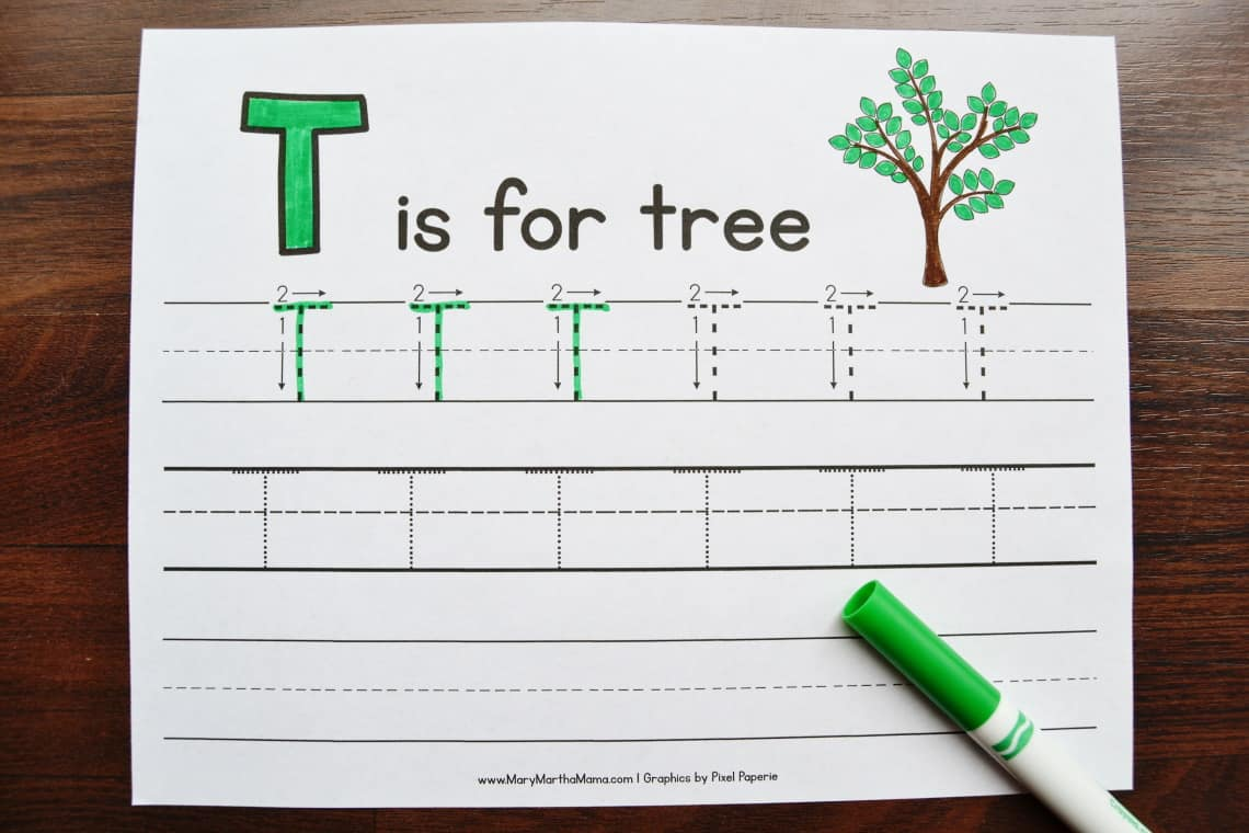 Letter T Tracing Worksheets: Uppercase