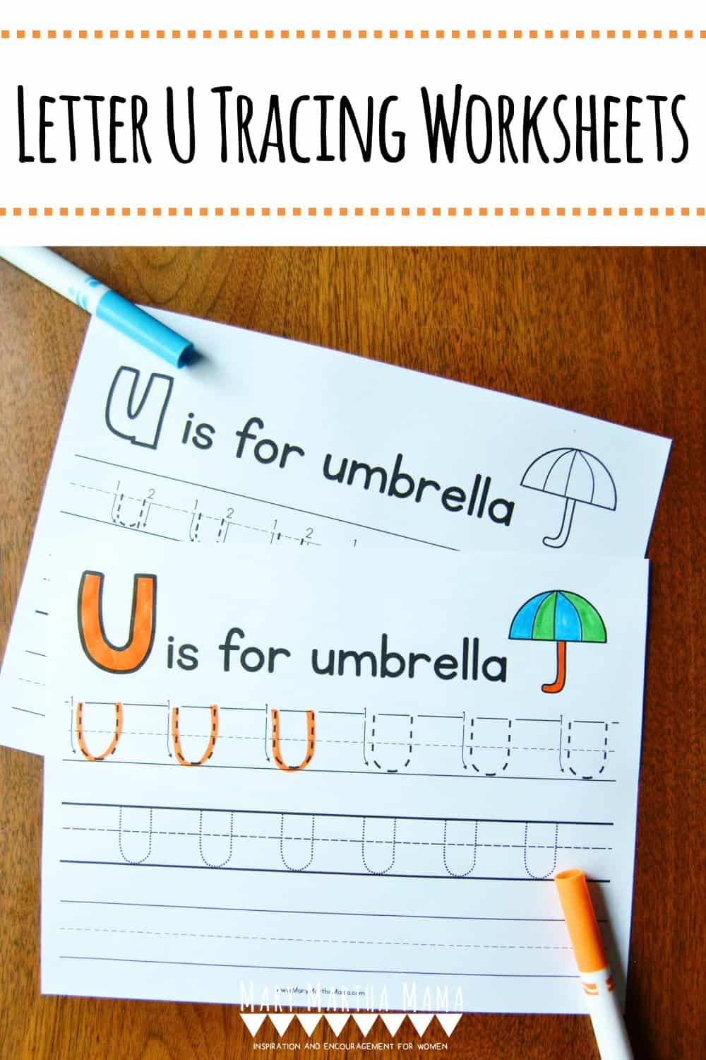 Use these free printable Letter U Tracing Worksheets to help your child learn proper letter formation for upper and lower case letter U.