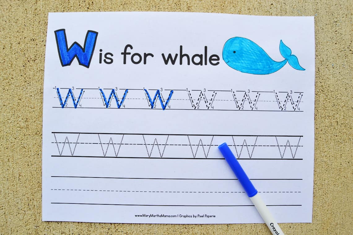 Letter W tracing worksheets: Upper Case