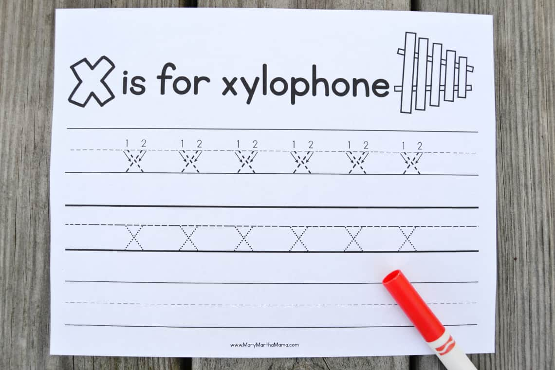 letter x tracing worksheets: lower case