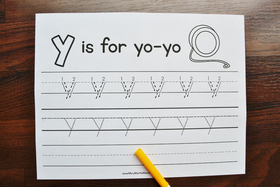 letter y tracing worksheets: lower case