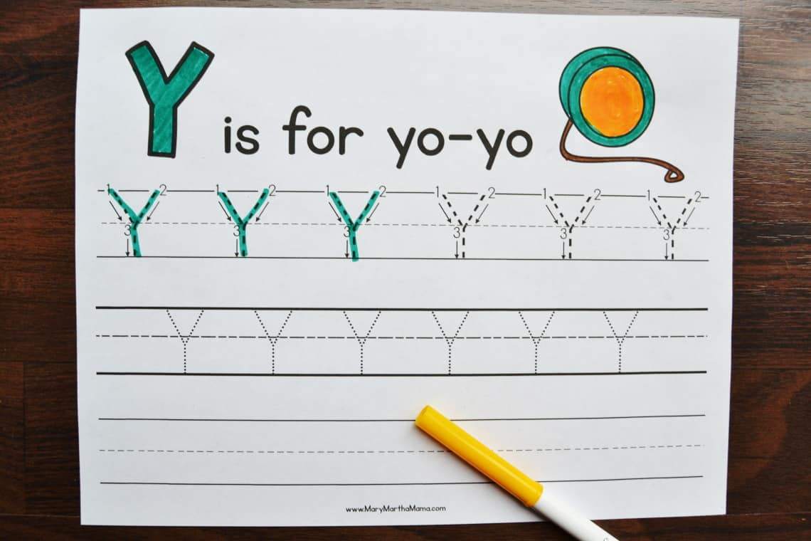 letter y tracing worksheets: upper case