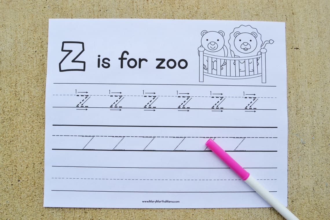 Letter Z Tracing Worksheets: Lower Case