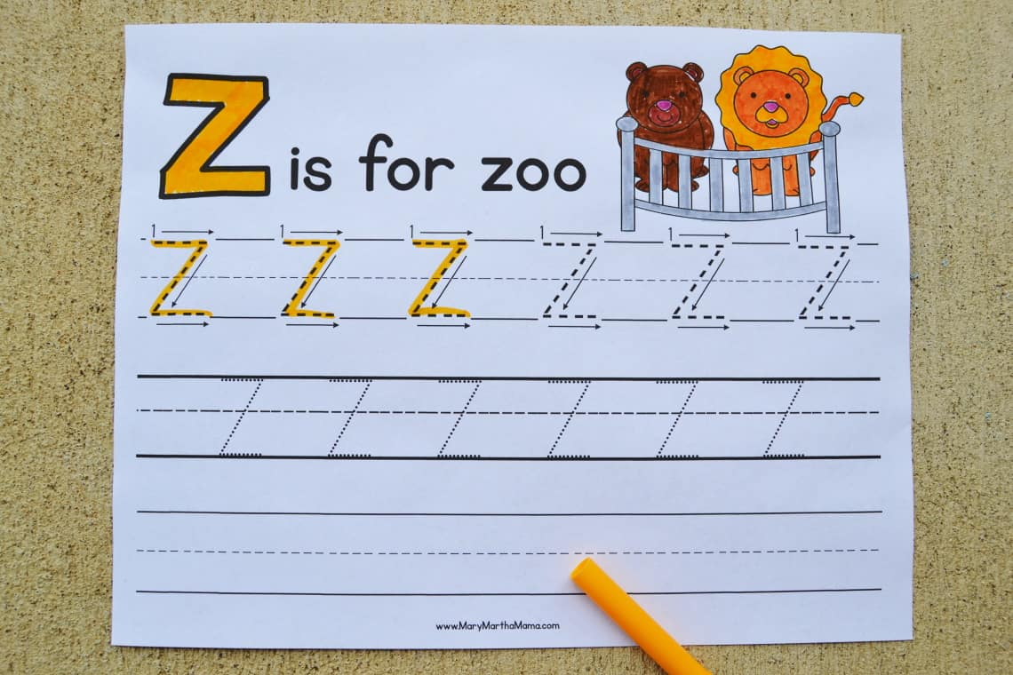 Letter Z Tracing Worksheets: Upper Case