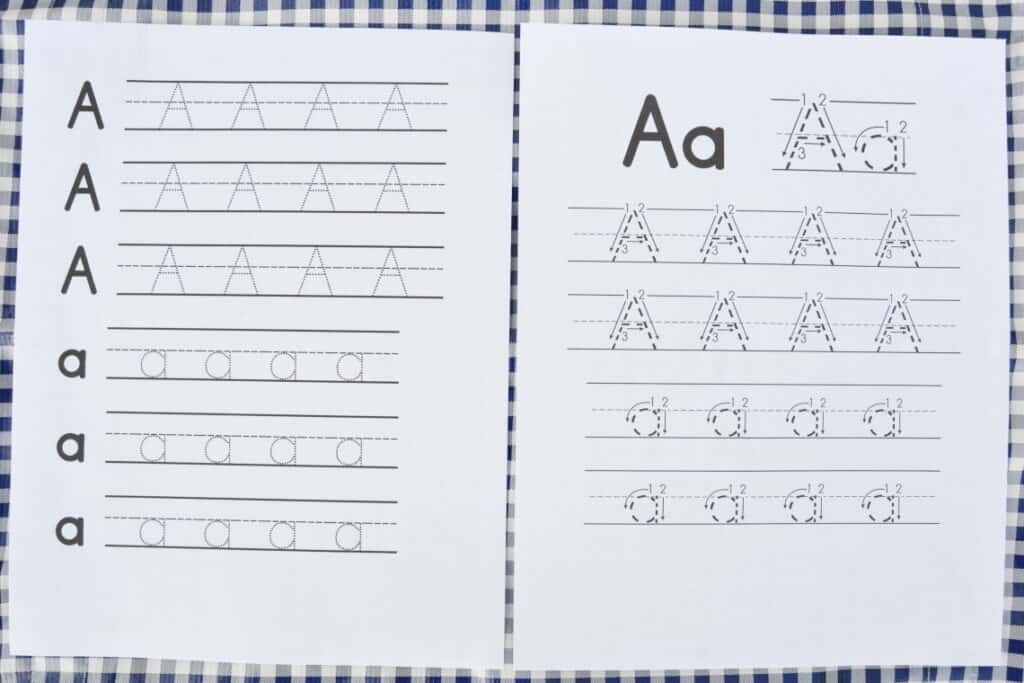 letter tracing worksheets with upper and lower case