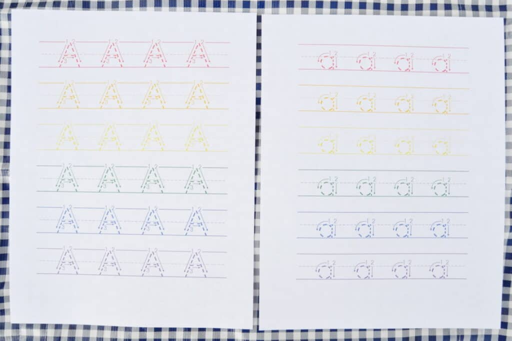 rainbow tracing worksheets
