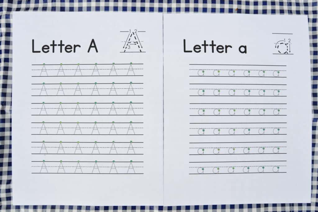 letter tracing worksheets with starting dots