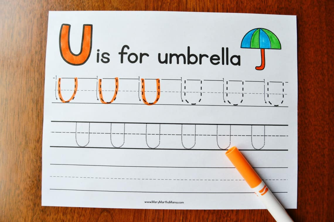 Letter U Tracing Worksheets: Upper Case