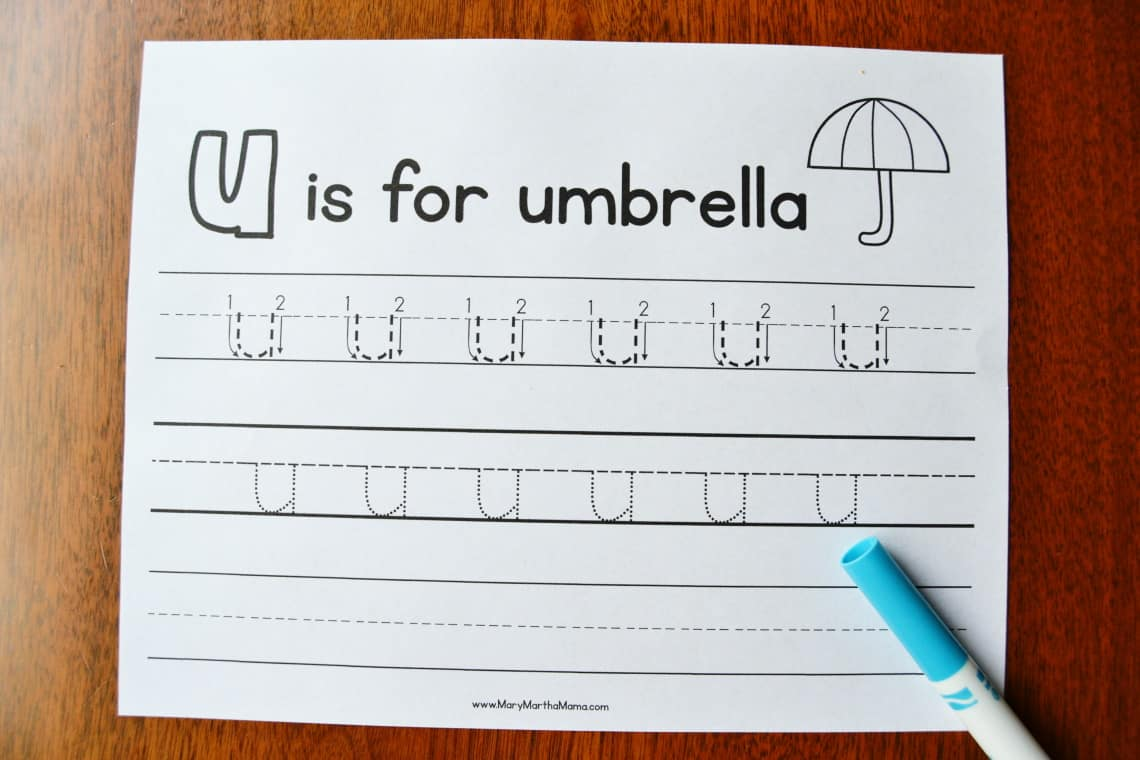 Letter U Tracing Worksheets: Lower Case