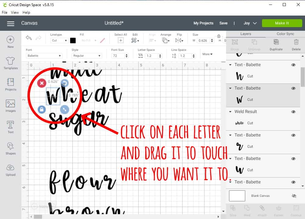 Design Space Screen Shot showing how to make letters in word touch