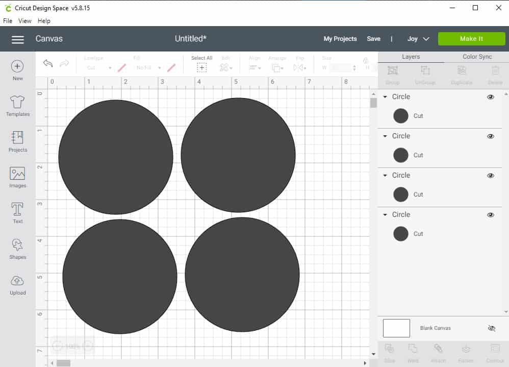 Design Space Screen Shot showing how to draw circles for the labels