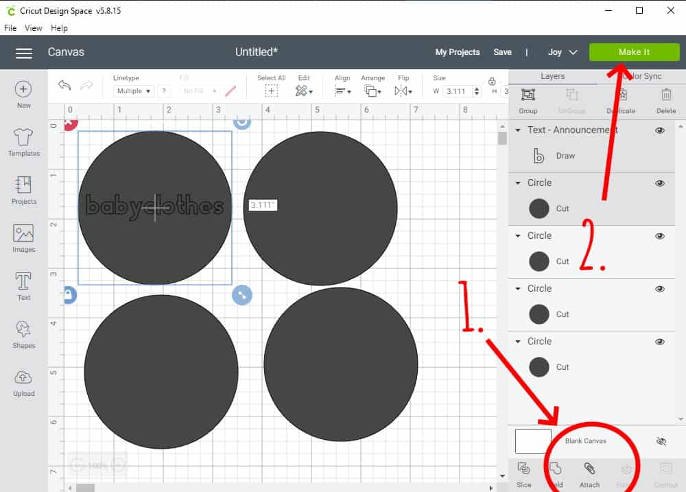 Design Space Screen Shot showing how to attach the words to the circles