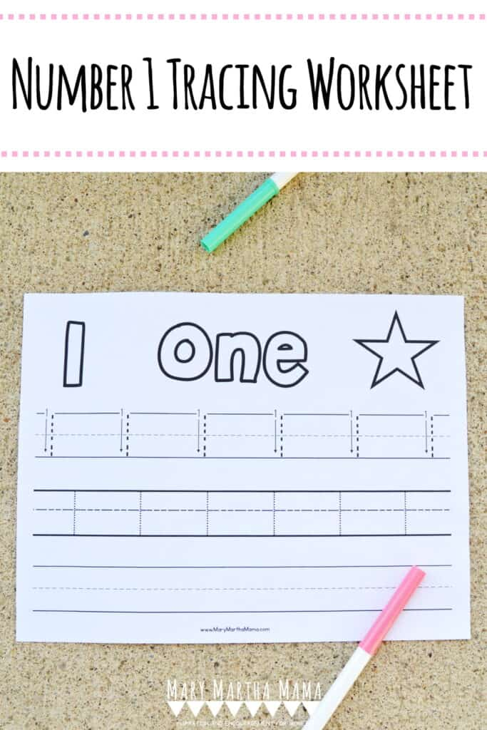Use this free printable Number 1 Tracing Worksheet to help your kiddo learn proper letter formation for number 1 with and without arrows for guidance.