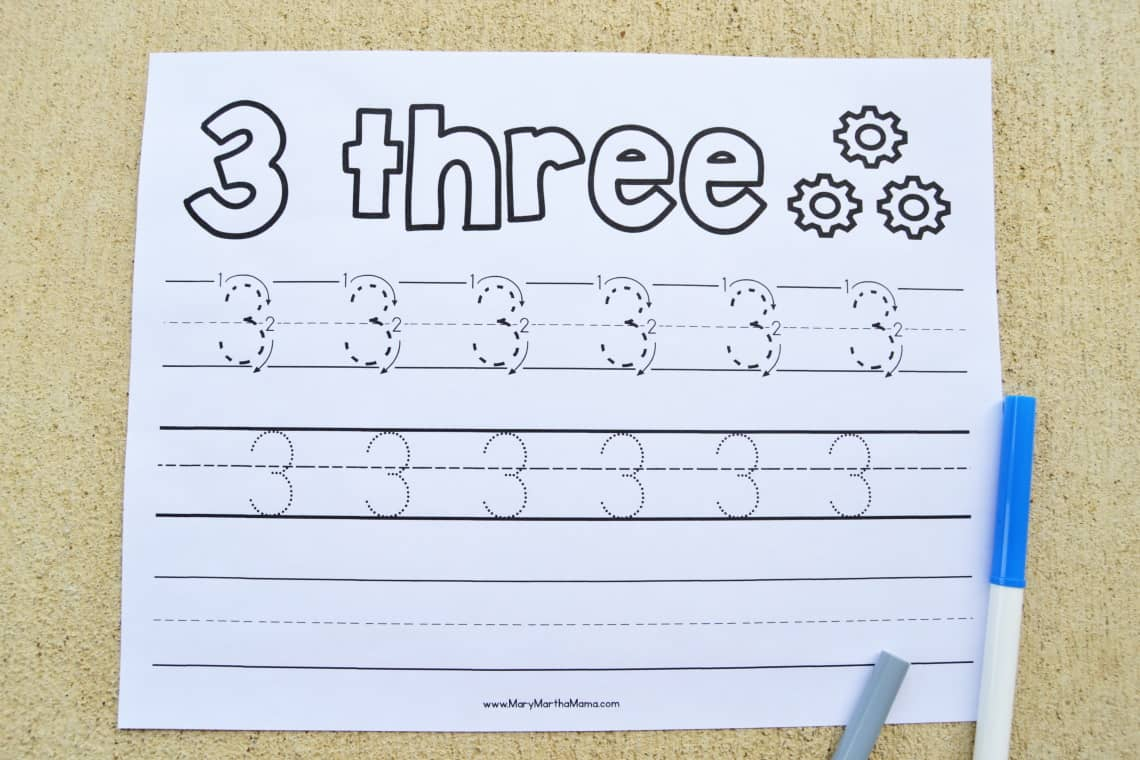 Number 3 Worksheet with markers