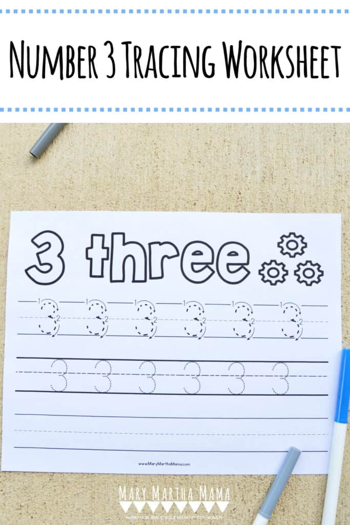 Use this free printable Number 3 Tracing Worksheet to help your kiddo learn how to write number 3.  Features tracing with and without arrows to guide.