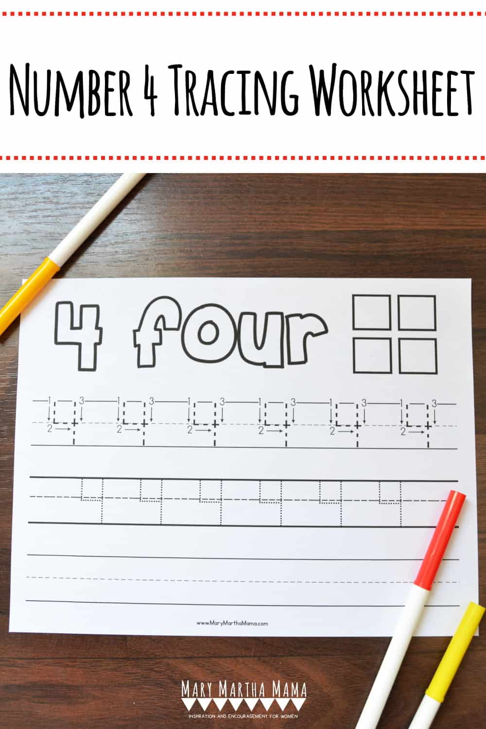 Use this free printable Number 4 Tracing Worksheet to help your kiddo learn how to write number 3. Features tracing with and without arrows to guide.