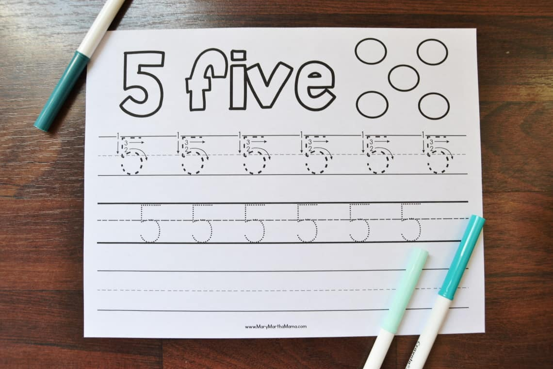 Number 5 Tracing Worksheet with markers