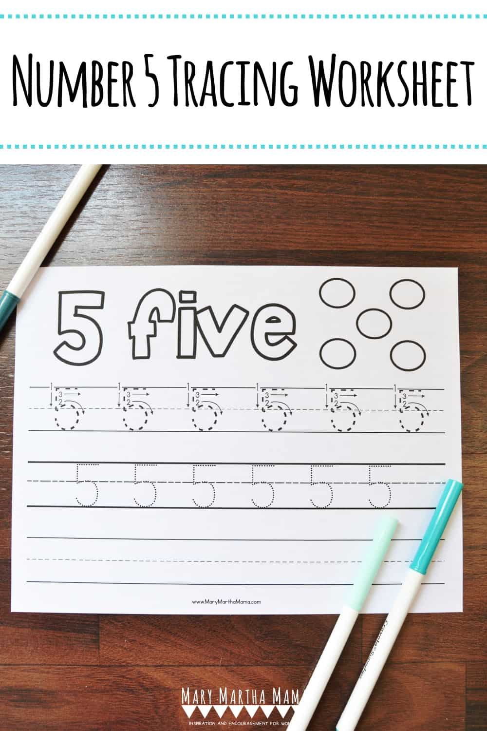 Use this free printable Number 5 Tracing Worksheet to help your kiddo learn how to write number 5. Features tracing with and without arrows to guide.