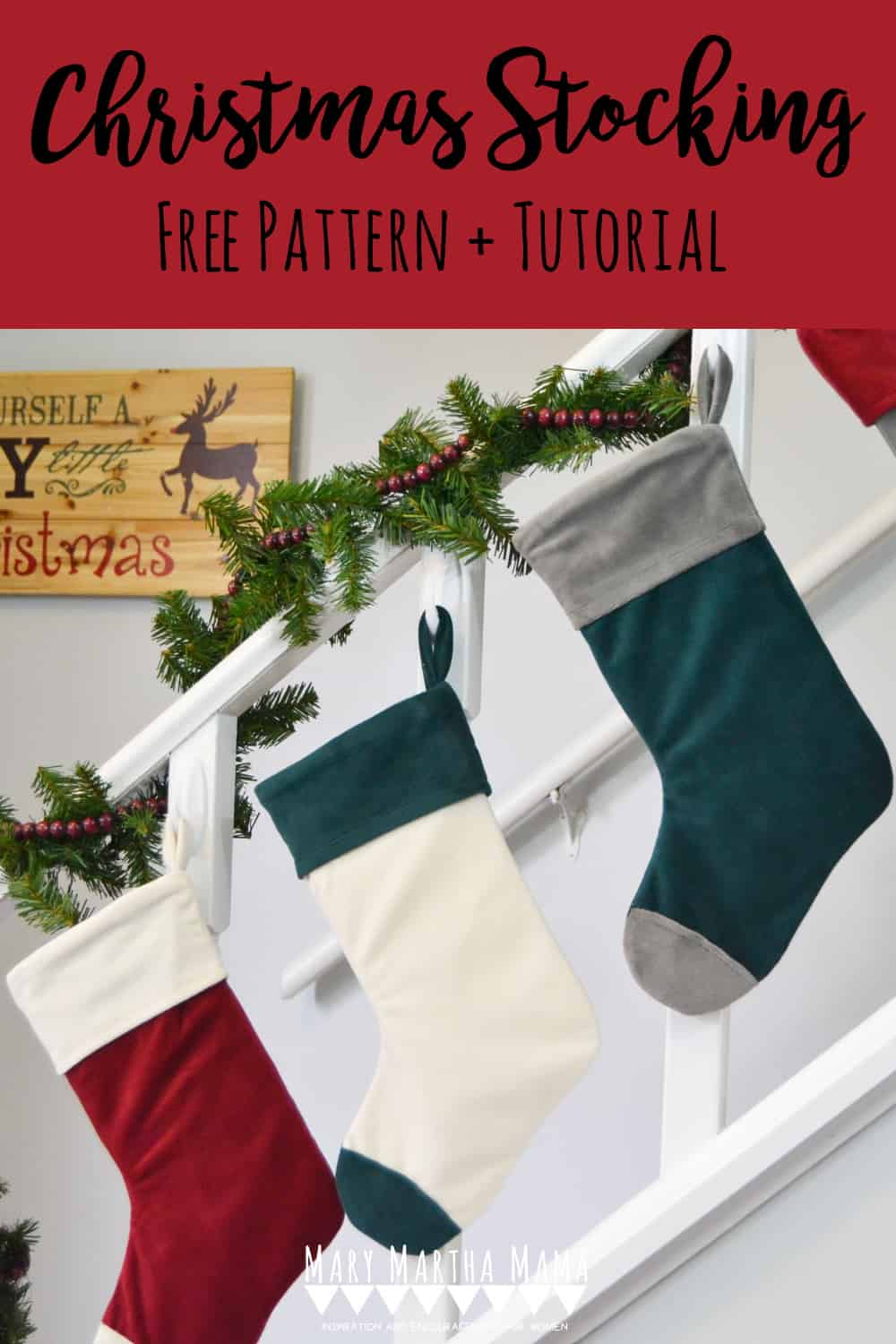 Use this cuffed Christmas stocking pattern and tutorial to make your own Christmas stockings.  Choose the colors and fabric for a custom look all your own.