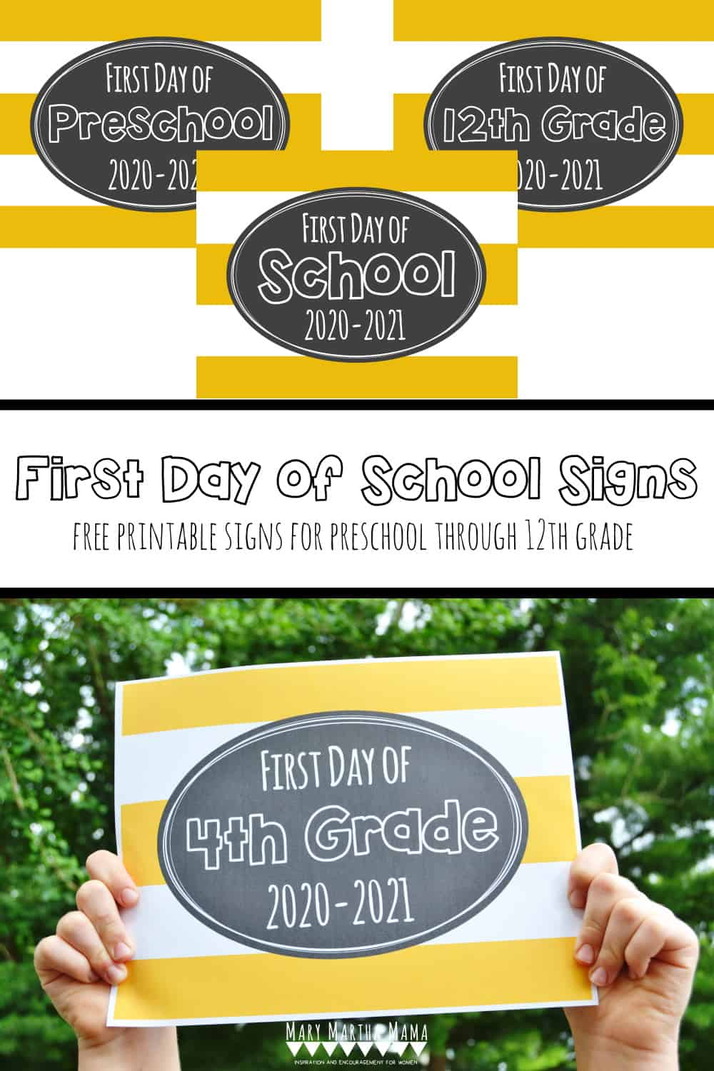 Grab one of these Free Printable First Day of School Signs 2020 and snap a picture with your kid to celebrate. Free Printables for Preschool to 12th Grade.