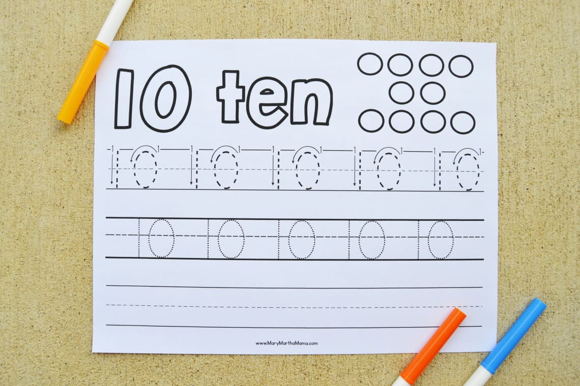 Number 10 Tracing Worksheet with markers