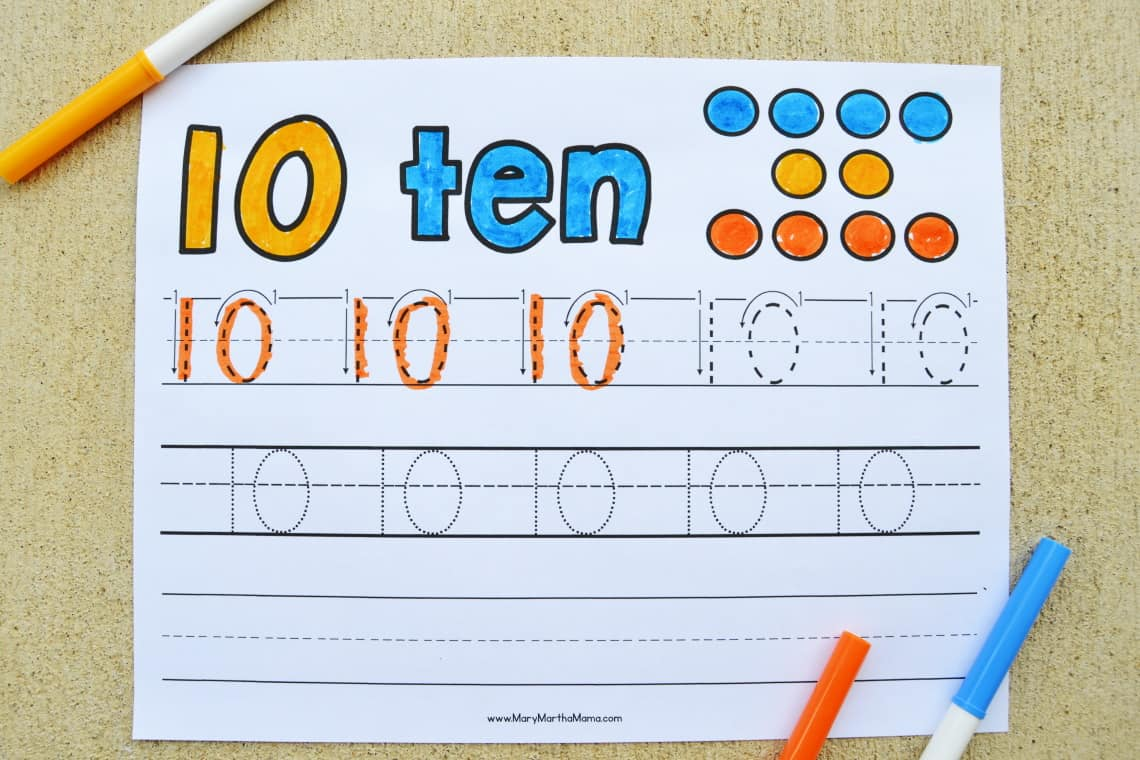 Number 10 Tracing Worksheet partially colored in