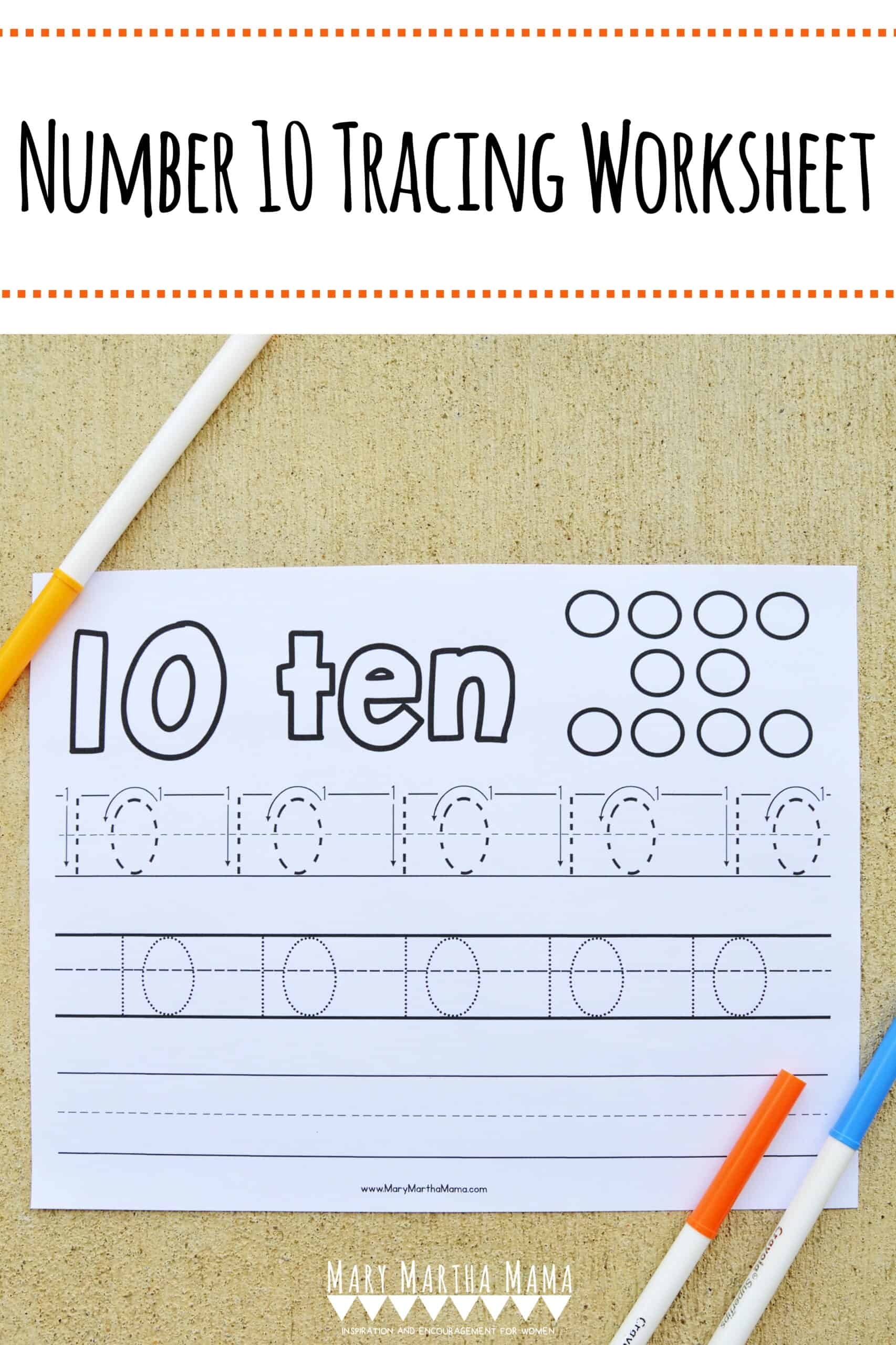Use this free printable Number 10 Tracing Worksheet to help your kiddo learn how to write number 10.  Features tracing with and without arrows to guide.